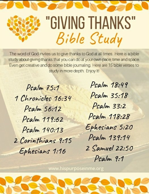 Bible study GIVING THANKS at all time